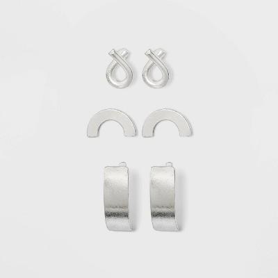 Sterling Silver Recycled Metal Semi-Circle and Half Hoop Earring Set 3pc - Universal Thread™ Silver