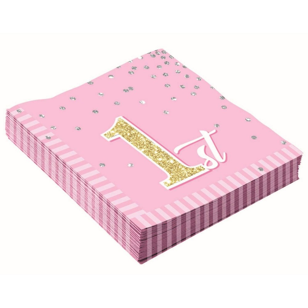 Image of 16ct 1st Birthday Lunch Napkins Pink