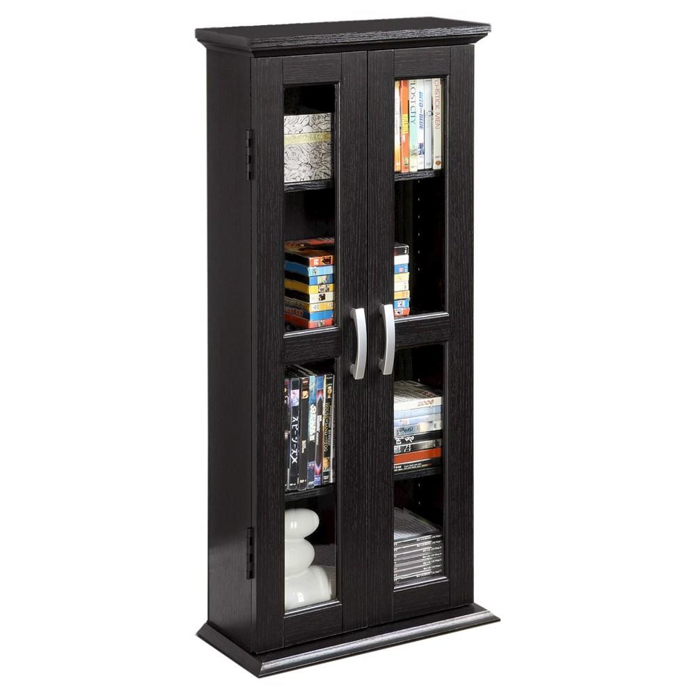 41 Wood Media Storage Tower Cabinet - Black - Saracina Home