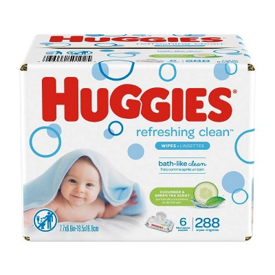 Huggies Refreshing Clean Cucumber/Green Tea Flip-top Packs Baby Wipes - 288ct