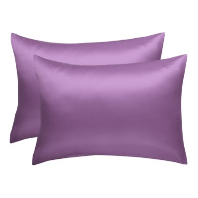 "2 Pcs 20""x26"" Silk Satin Envelope Pillow Cases Purple - PiccoCasa"