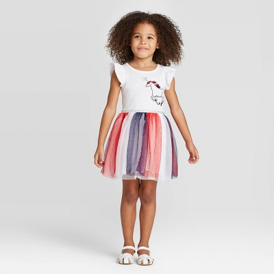 Toddler Girls' Short Sleeve Unicorn Tulle Dress - Cat & Jack™ White 12M