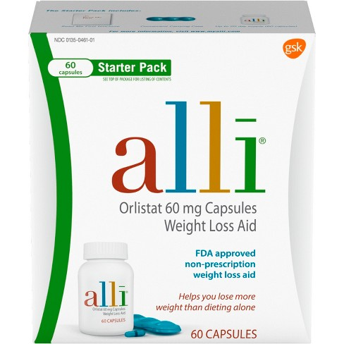 Alli Orlistat 60mg Weight Loss Aid Starter Kit Capsules - 60ct - image 1 of 4