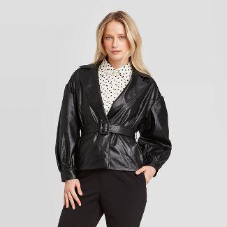 Women's Long Sleeve Belted Blazer - Who What Wear™ Black L