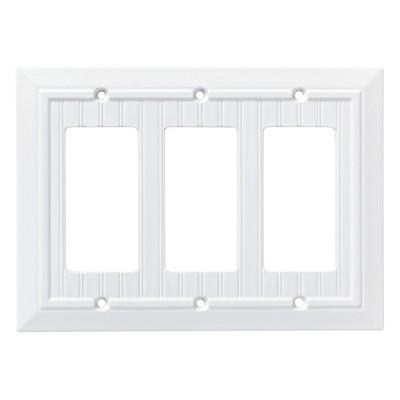 Franklin Brass Classic Beadboard Triple Decorator Wall Plate White