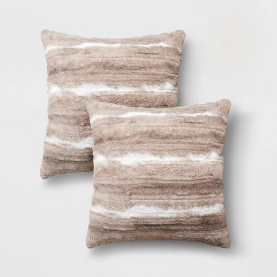 2pk Brushed Striped Faux Rabbit Fur Square Throw Pillow Brown