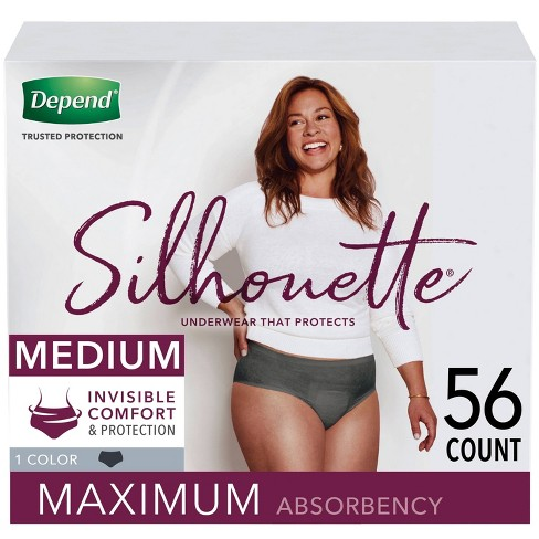 Depend Silhouette Incontinence Underwear for Women - Maximum Absorbency - Medium - Black - 56ct (2 Packs of 28) - image 1 of 4