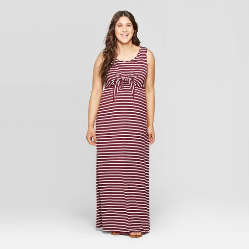 6f5b98f6d9cc0 Maternity Striped Round Neck Tie Front Nursing Maxi Dress - Isabel Maternity  By Ingrid & Isabel™ Burgundy : Target