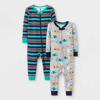 Baby Boys' 2pk Snug Fit Pajama Romper - Cat & Jack™ Navy 18M