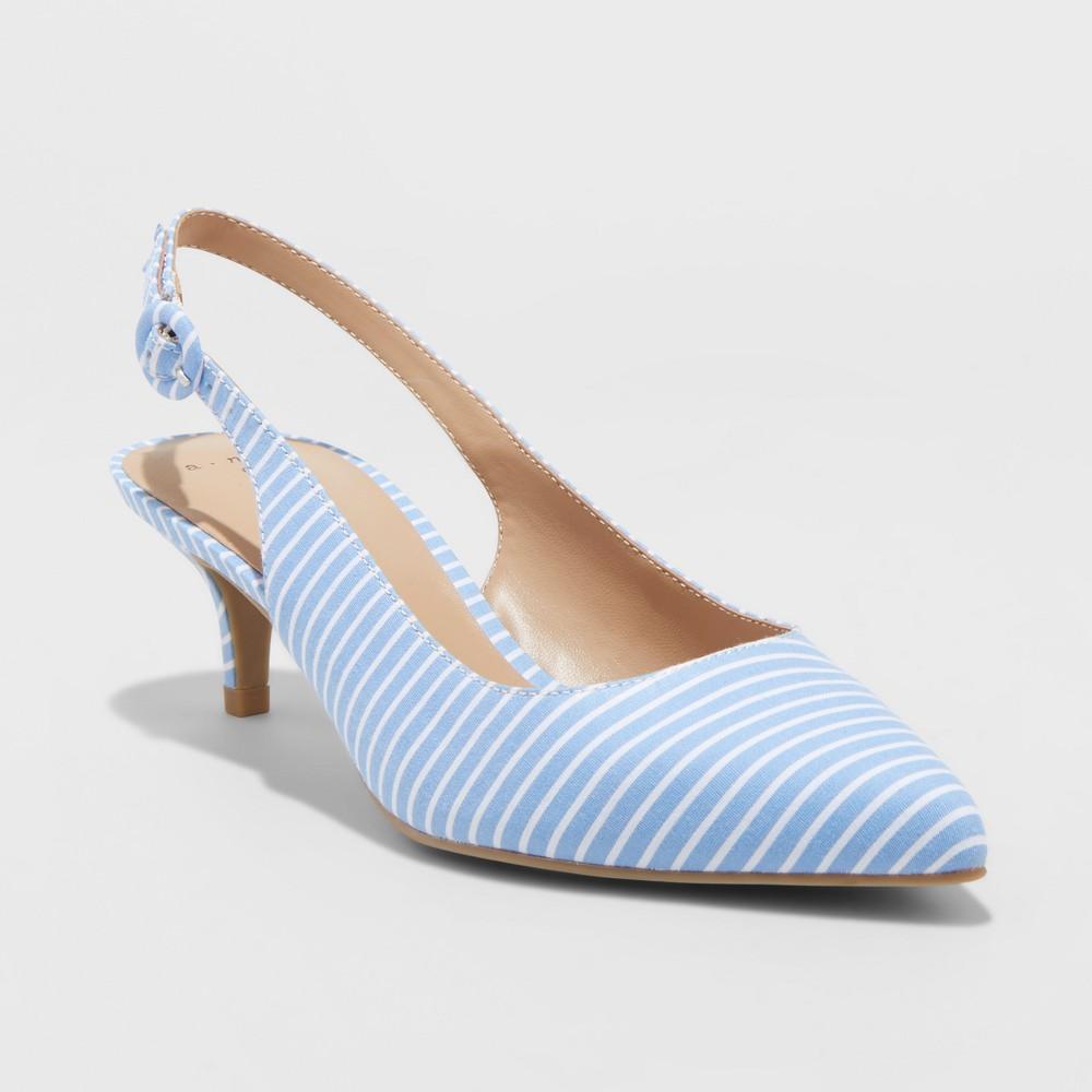 Women's Meghan Wide Width Kitten Heel Pumps - A New Day Blue 12W, Size: 12 Wide