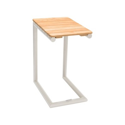 Portals Outdoor C-Shape Side Table with Natural Teak Wood Top - Armen Living