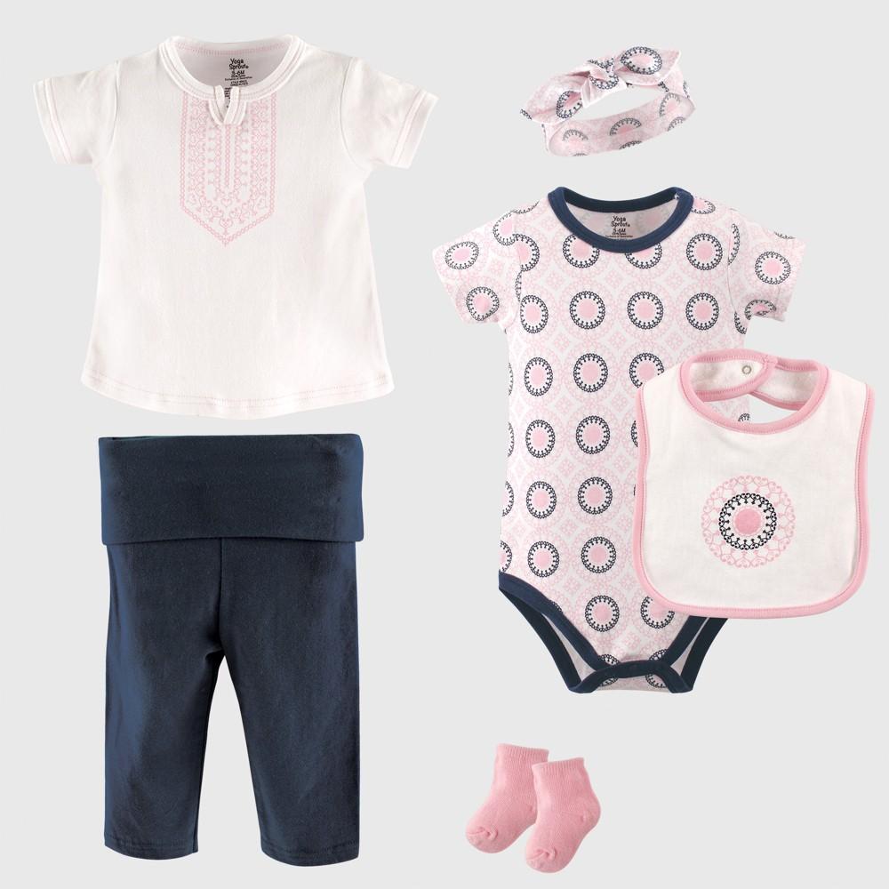 Yoga Sprout Baby Girls' 6pc Bodysuit, Top, Pants, Bib, Sock & Headband Set, Ornamental - Pink/Blue 0-3M