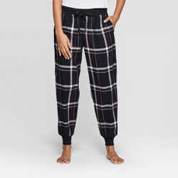 Women's Plaid Perfectly Cozy Flannel Pajama Pants - Stars Above™ Black
