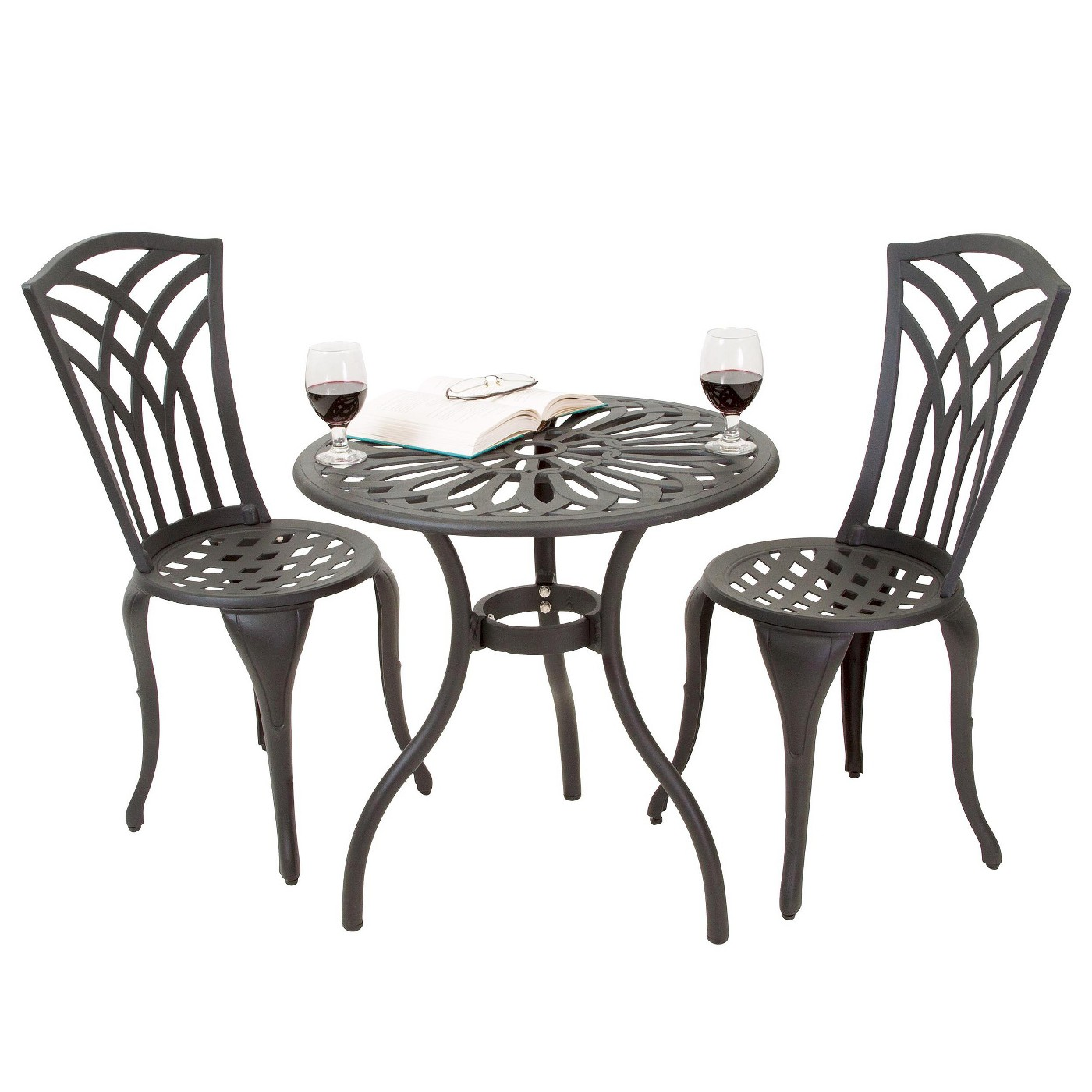 3-Pc Sanders Black Metal Frame Bistro Patio Dining Set