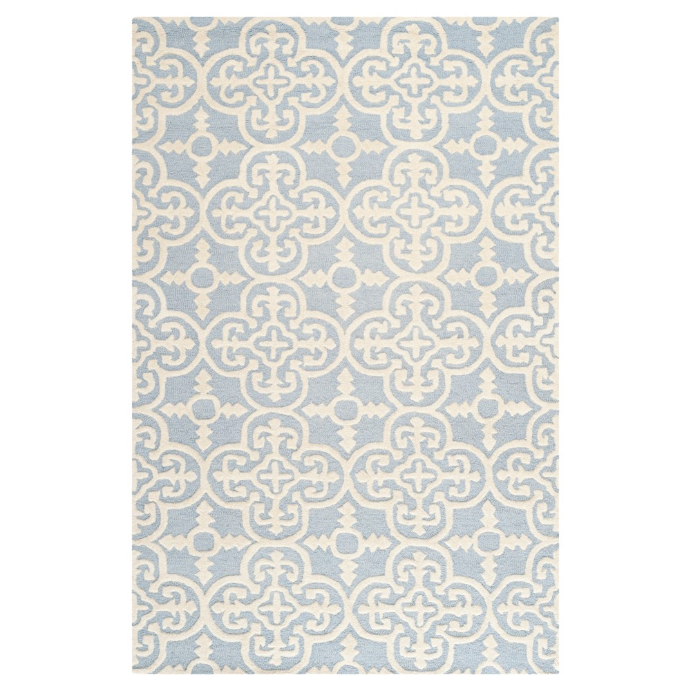 5'X8' Geometric Area Rug Light Blue/Ivory - Safavieh