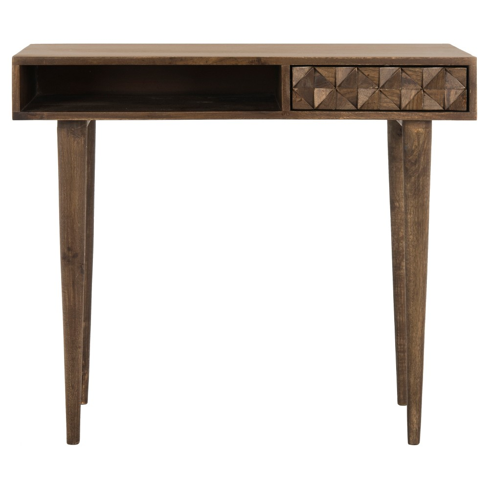 Zinnia Desk - Walnut (Brown) - Safavieh Inspired by bespoke furnishings at London's foremost decorative arts show, this contemporary desk is a modern heirloom. Ideal for the living room or home office, its luxurious walnut wood is illuminated by its slender legs and ample storage.