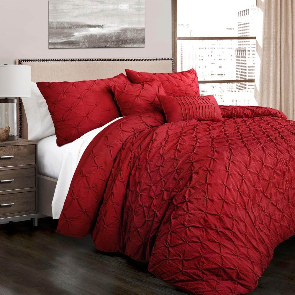 5pc King Ravello Pintuck Comforter Set Red - Lush Decor