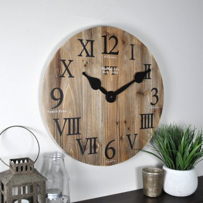 "18"" Rustic Farmhouse Barn Wood Wall Clock Natural Wood - FirsTime & Co."