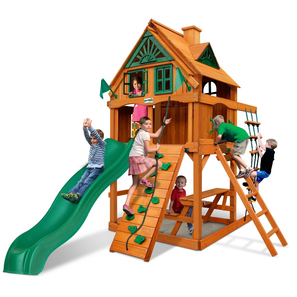 Gorilla Playsets Chateau Tower Treehouse with Fort Add-On & Amber, Multi-Colored