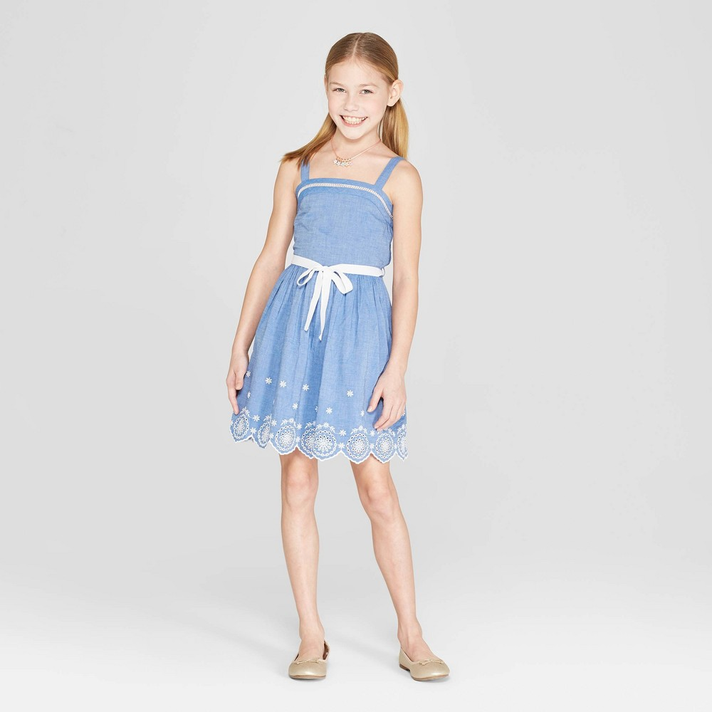Image of Girls' Embroidered Scallop A Line Dress - Cat & Jack Chambray S, Blue