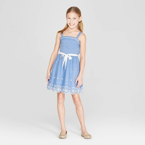Girls' Embroidered Scallop A Line Dress - Cat& Jack™ Chambray - image 1 of 4