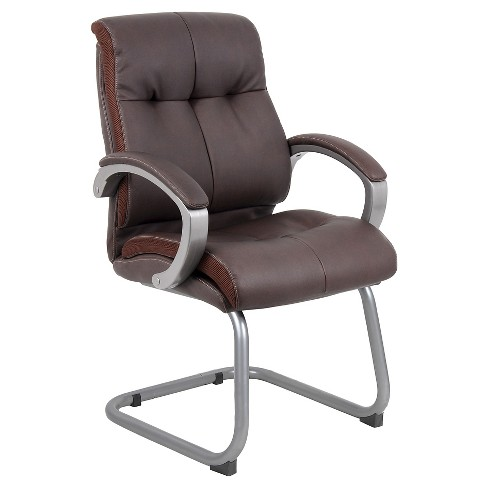 Double Plush Executive Guest Chair Bomber Brown - Boss Office Products - image 1 of 3