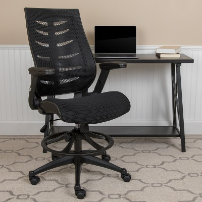 Flash Furniture High Back Mesh Spine-Back Ergonomic Drafting Chair with Adjustable Foot Ring and Adjustable Flip-Up Arms