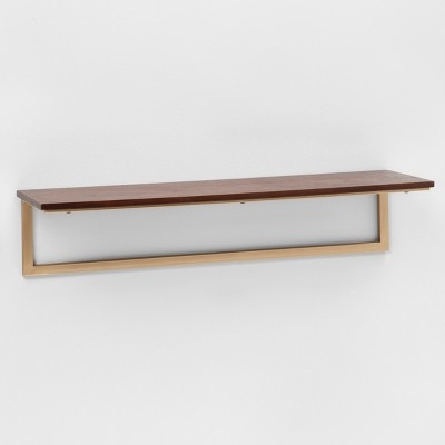 23.7  x 7  Wood & Metal Shelf Walnut/Gold - Project 62™