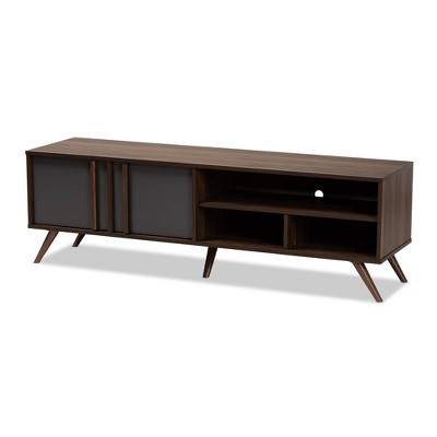 2 Door Naoki Two-Tone Wood TV Stand Gray/Walnut - Baxton Studio