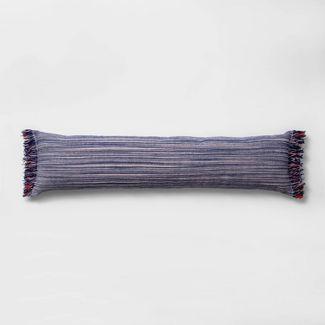 Lumbar Texture Stripe Bed Lumbar Pillow Blue - Opalhouse™