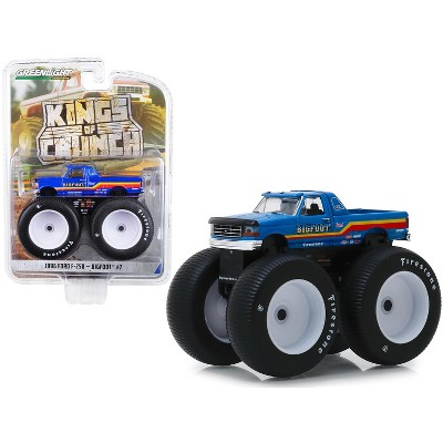 "1996 Ford F-250 Monster Truck ""Bigfoot #7"" Metallic Blue with Stripes 1/64 Diecast Model Car by Greenlight"