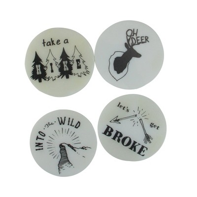 """Wild Eye Set of 4 Black and White Wilderness Rustic Coasters with Cork Backing 4"""""""