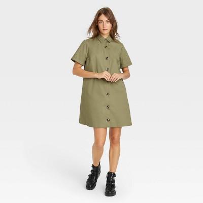 Women's Short Sleeve Button-Up Trapeze Dress - Who What Wear™