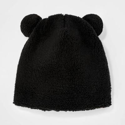 Girls' Teddy Fleece Beanie - Cat & Jack™ Black