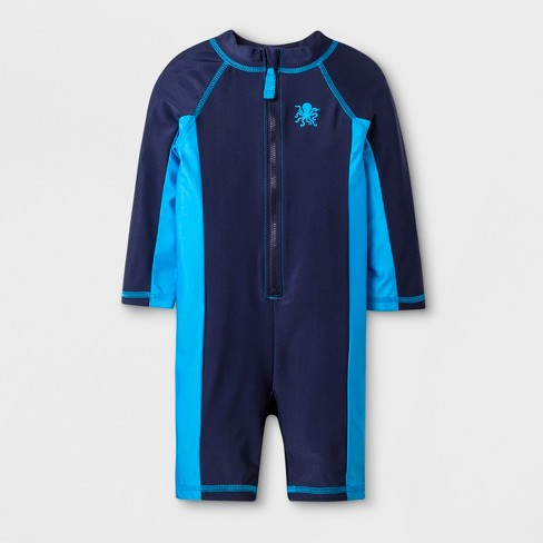 Baby Boys' Long Sleeve Full Body One Piece Swimsuit - Cat & Jack™ Navy - image 1 of 1