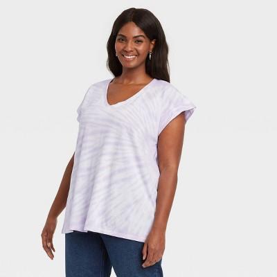 Women's Plus Size V-Neck Short Sleeve  Knit T-Shirt - Ava & Viv™