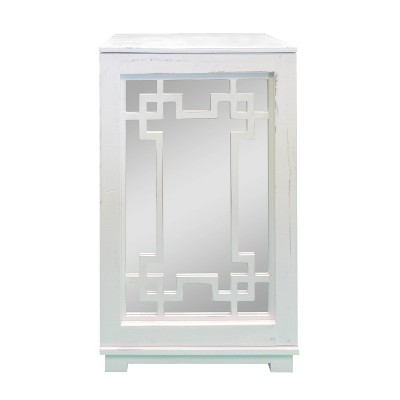 Geometric Pattern Wooden Side Table with Mirrored Door Cabinet White/Clear - The Urban Port