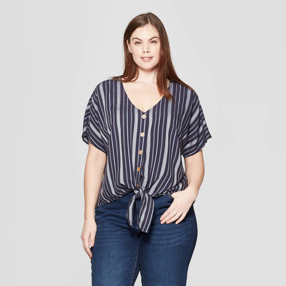 Women's Plus Size Striped Short Sleeve V-Neck Tie Front Top - Universal Thread Blue 4X