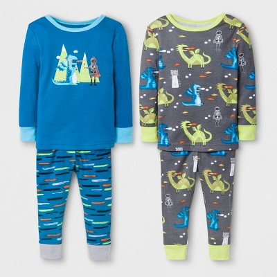 Baby Boys' Dragon 4pc Pajama Set - Cat & Jack™ Blue 18M
