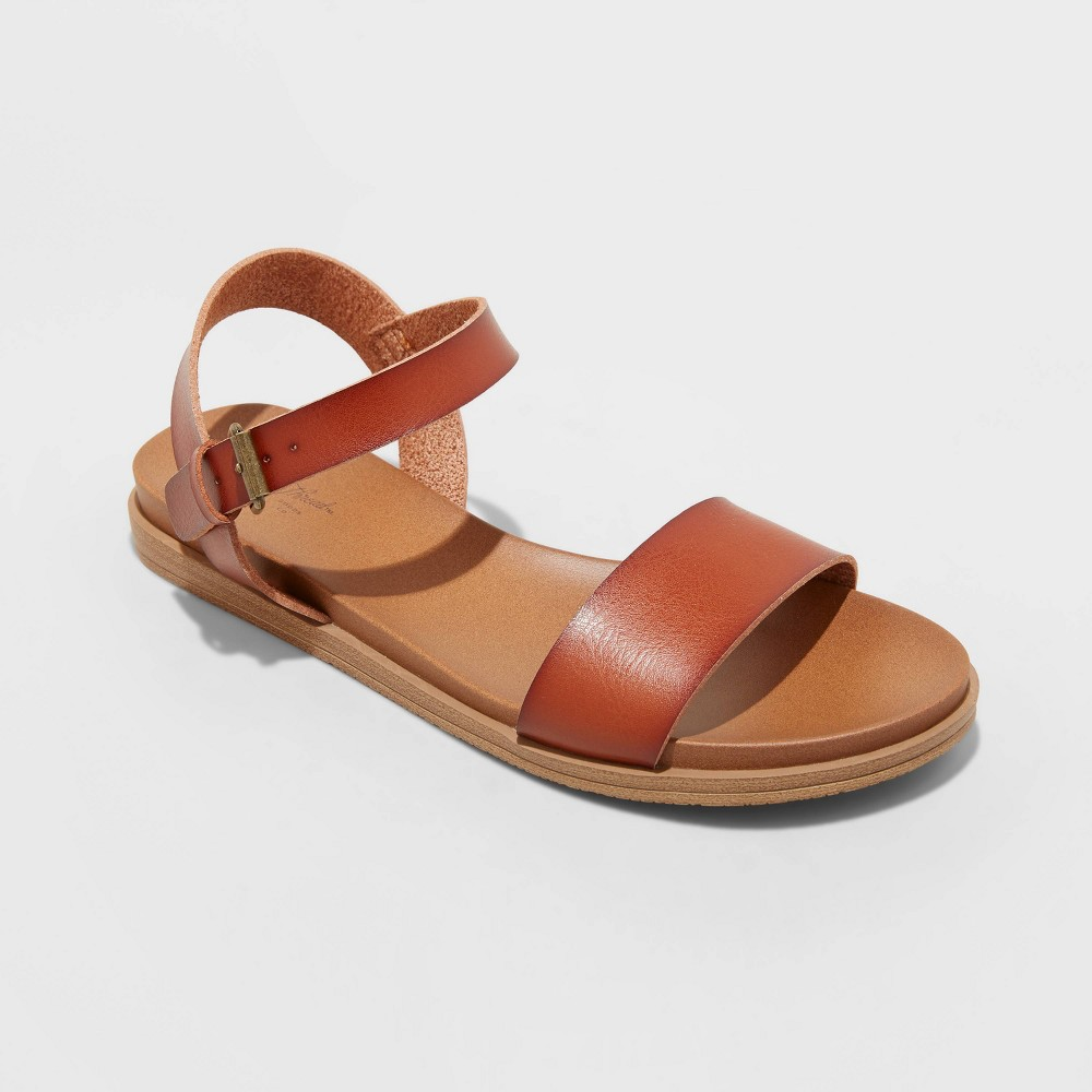 Women 39 S Nyla Ankle Strap Sandals Universal Thread 8482 Cognac 10