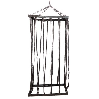 """Northlight 75.5"""" Weathered Life Size Cage Hanging Halloween Decoration - Brown/Silver"""