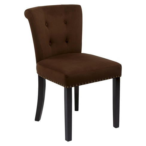 Kendal Velvet Dining Chair Wood/Chocolate - Office Star - image 1 of 1