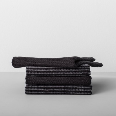 4pk Striped Barmop Towels Black - Made By Design™