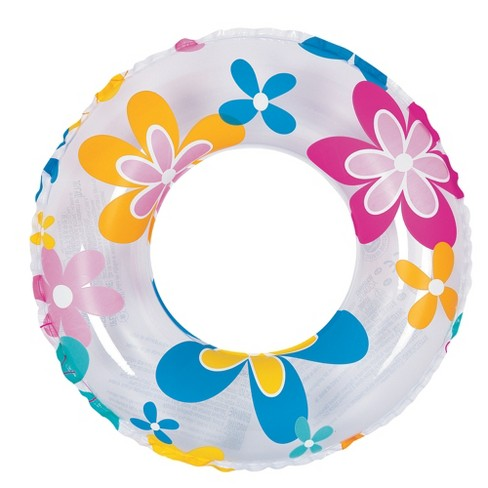 """Pool Central 24"""" Retro Flower Print Inflatable 1-Person Swimming Pool Inner Tube Ring Float - White - image 1 of 1"""