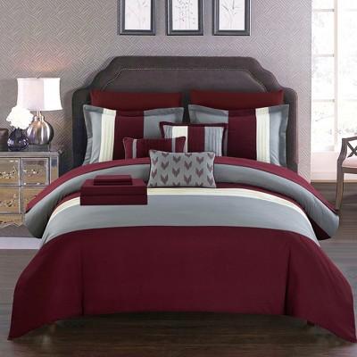 Chic Home Moriarty Elegant Color Block Ruffled Decorative Pillows & Shams - Burgundy