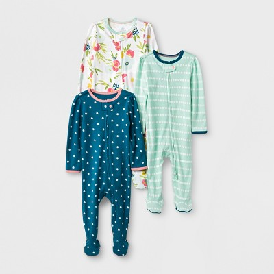 Baby Girls' 3pk Floral/Stripe/Dot Zip Sleep 'N Play - Cloud Island™ Green/Pink 0-3M
