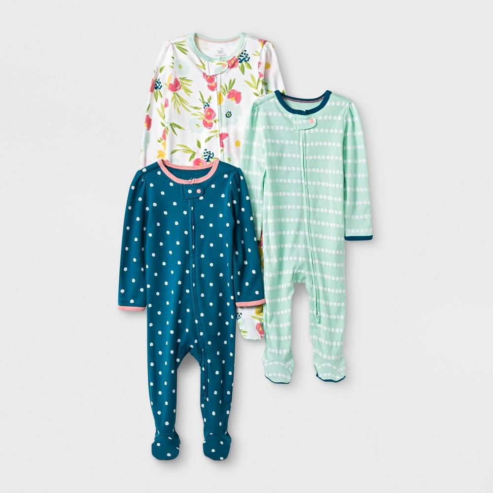 Baby Girls' 3pk Floral/Stripe/Dot Zip Sleep 'N Play - Cloud Island Green/Pink Newborn, White