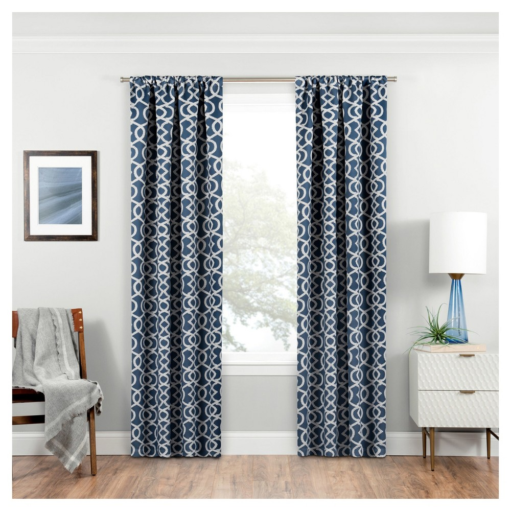 Isante Trellis Thermaweave Blackout Curtain Indigo (Blue) (37x84) - Eclipse