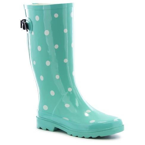 17024063ef02 Women s Novelty Polka Dot Wide Calf Rain Boots - Mint 8WC   Target