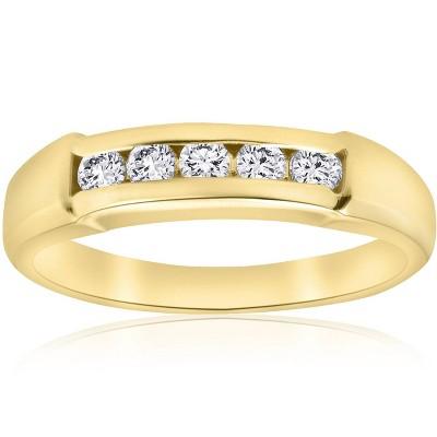 Pompeii3 1/2ct Mens 14K Yellow Gold Round Diamond Wedding Ring